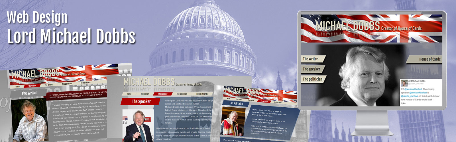 Website Design of Lord Michael Dobbs by New Time Media