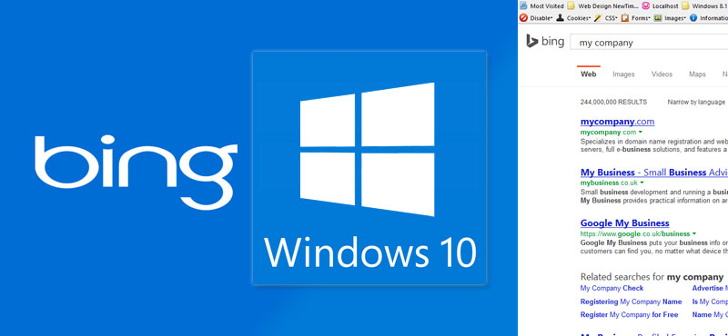 Bing for Search and SEO with Windows 10 logo