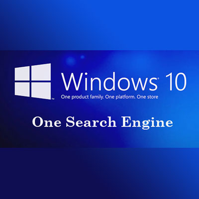 windows10 logo with one search engine